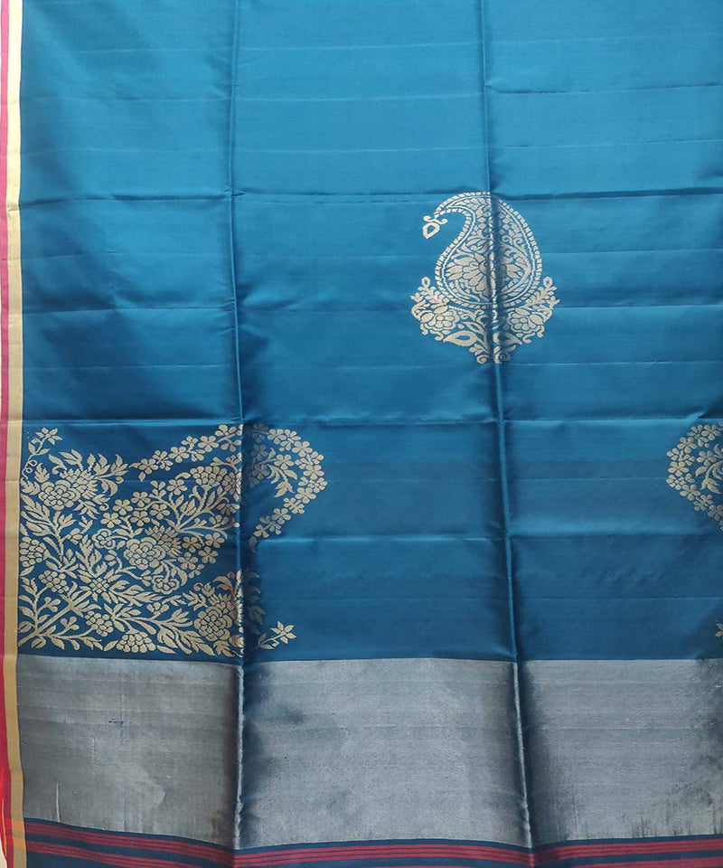 Rama blue Handwoven Soft Silk Saree
