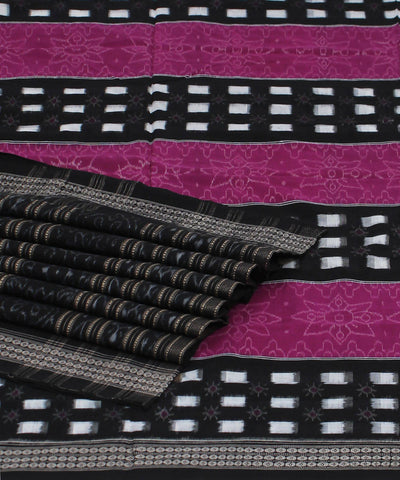 Purple Black Handloom Cotton Ikat Saree