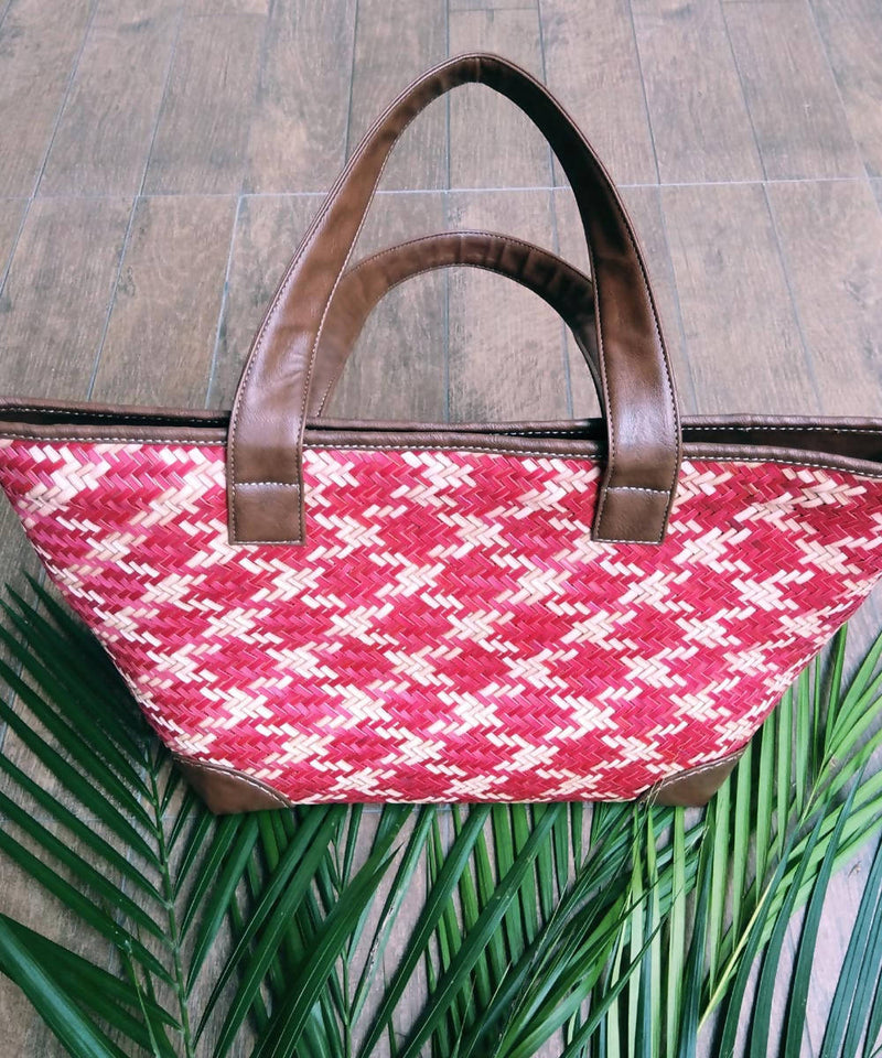 Red handwoven sitalpati and leather tote bag