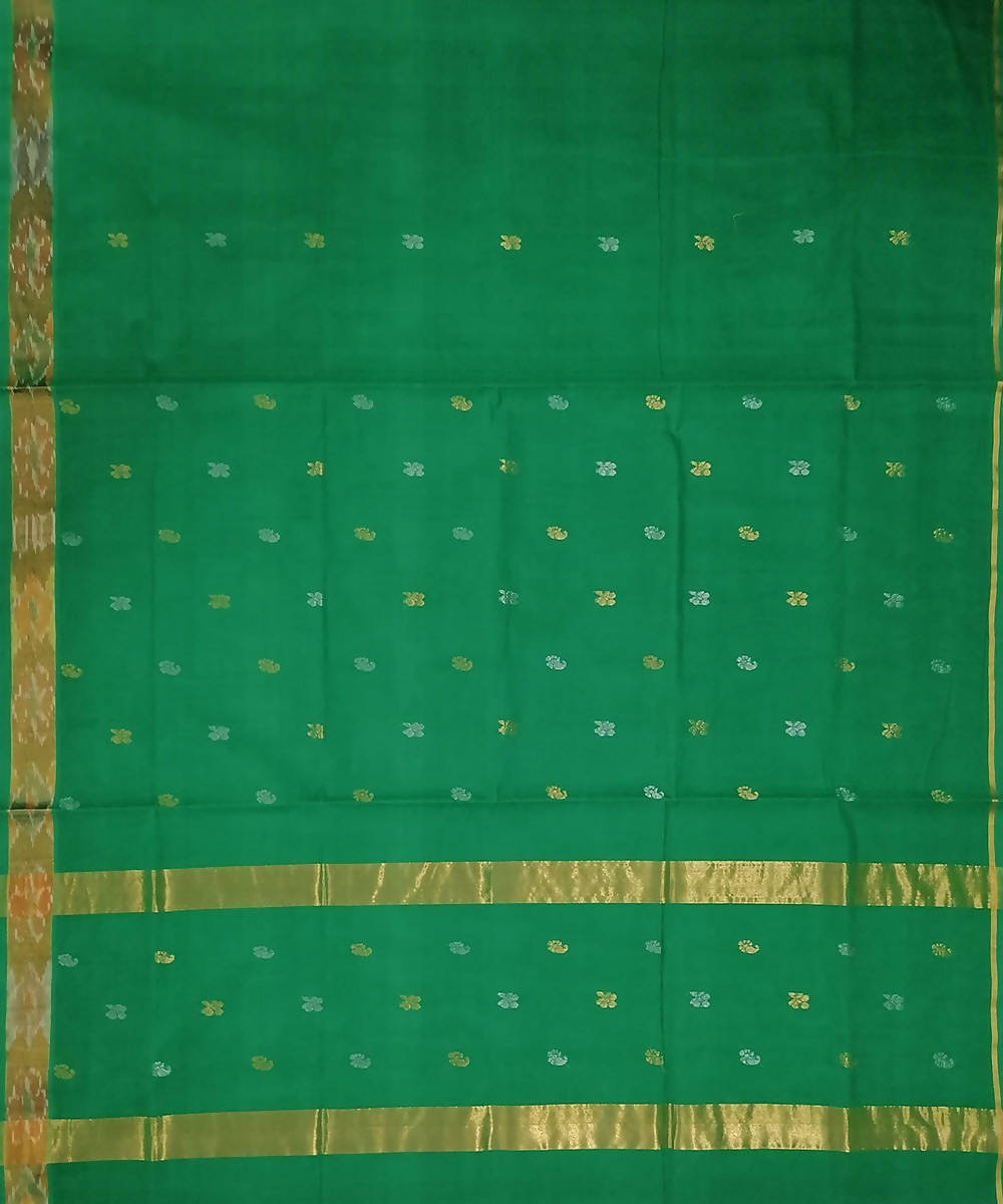 Green with butta handwoven venkatagiri cotton saree