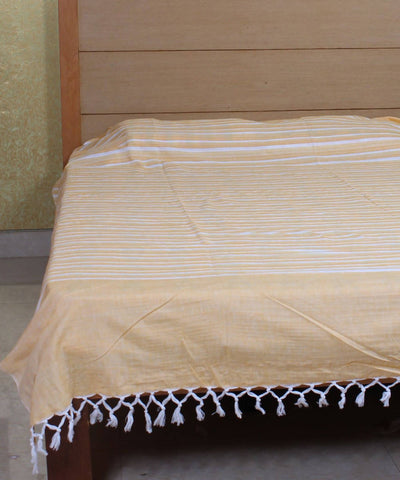 Yellow Striped Handwoven Cotton Bed Cover