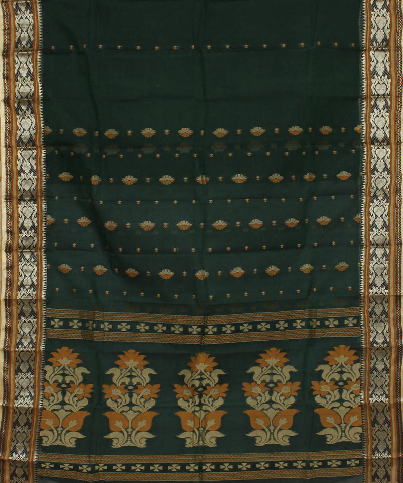Handloom Dark Green Bengal Tant Cotton Saree