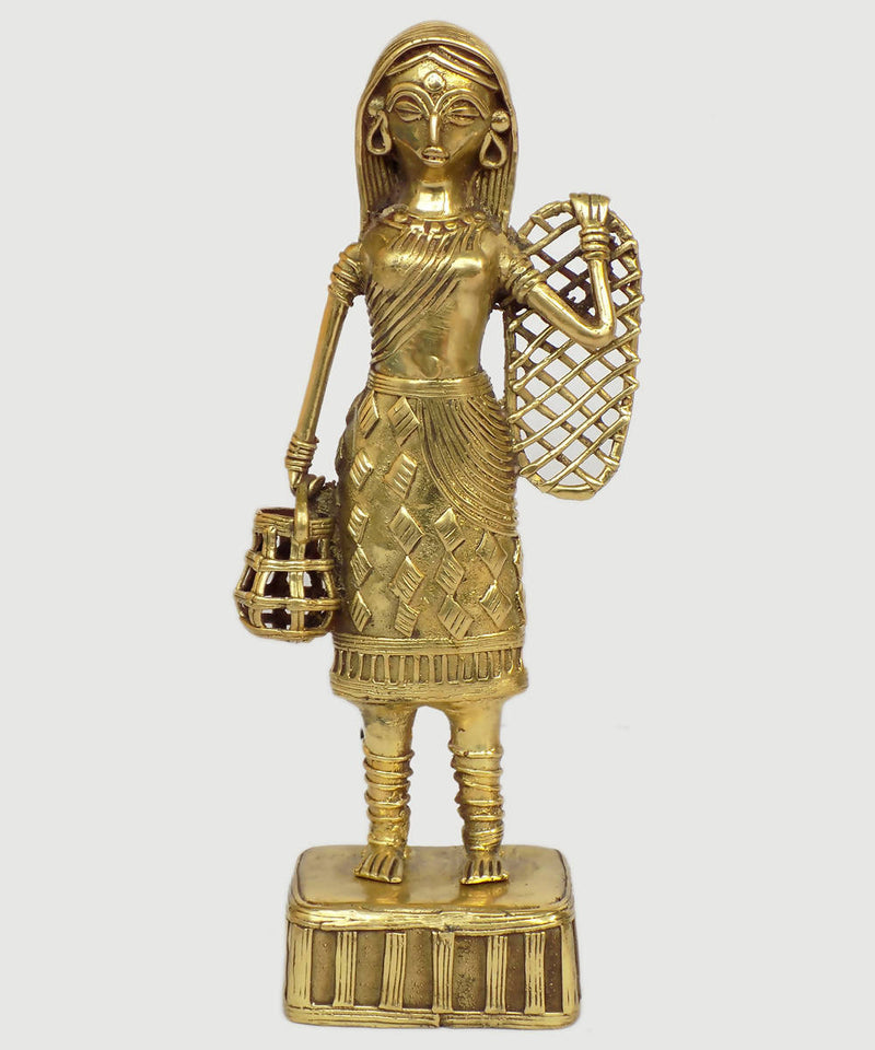 Dhokra brass handcrafted lady with fish net