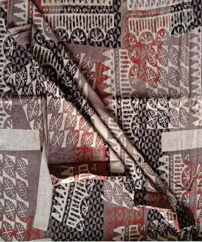 brown natural dye ajrakh block printed handspun handloom cotton fabric