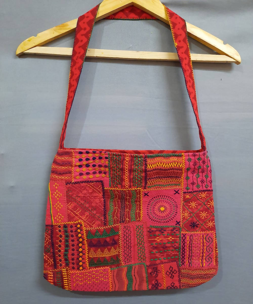 pink and red lambani embroidery cotton hand bag