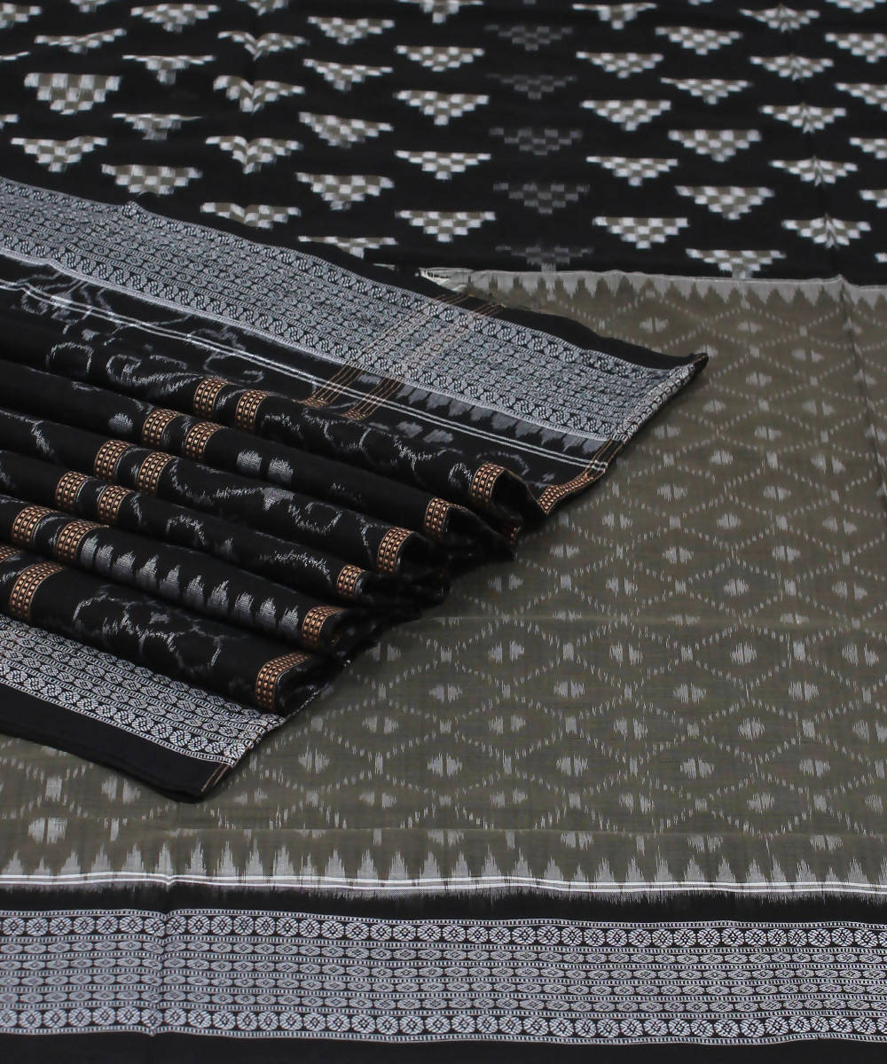 Sambalpuri Grey Black Handloom Cotton Saree