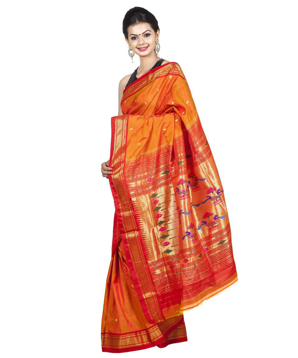 Mustard Orange Handloom Paithani Silk Saree