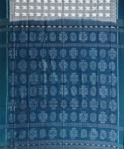 Cadet Blue Handwoven Sambalpuri cotton Saree