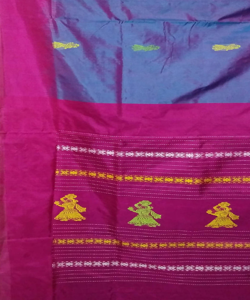 blue pink double shaded handwoven gollabama silk saree