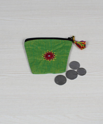 Lime Green Lambani Embroidery Coin Pouch