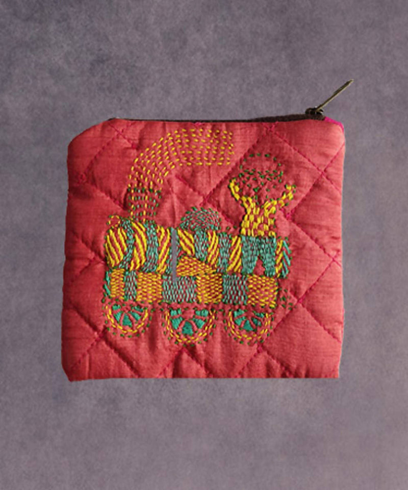 Alizarin crimson hand made kantha stitch silk coin purse