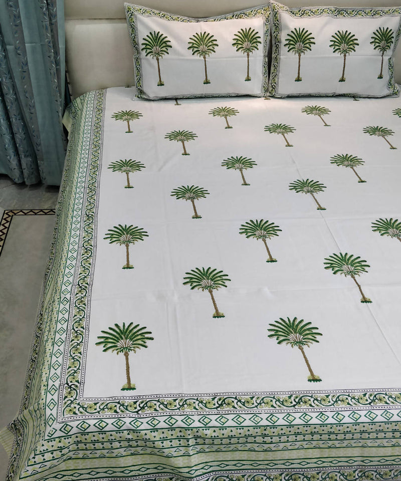 Tree Motif Handblock Printed Cotton Bedsheet