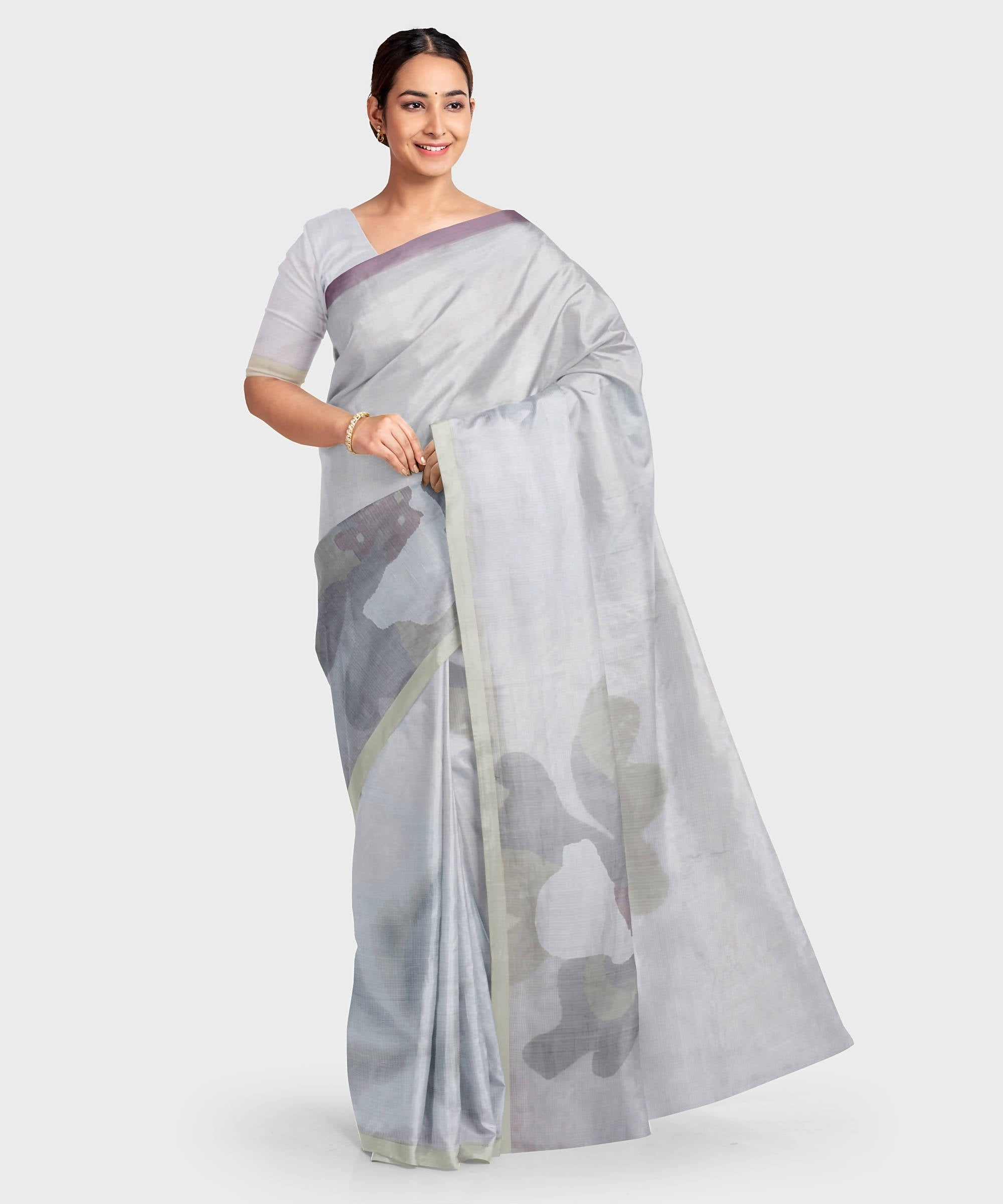 Biswa bangla handwoven grey silk jamdani saree