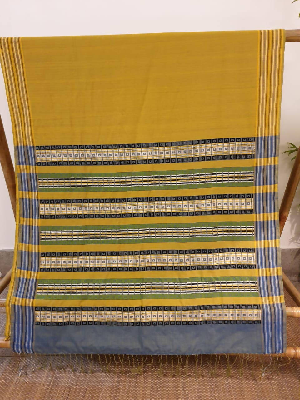 Mustard yellow assam handloom cotton and ghiccha saree