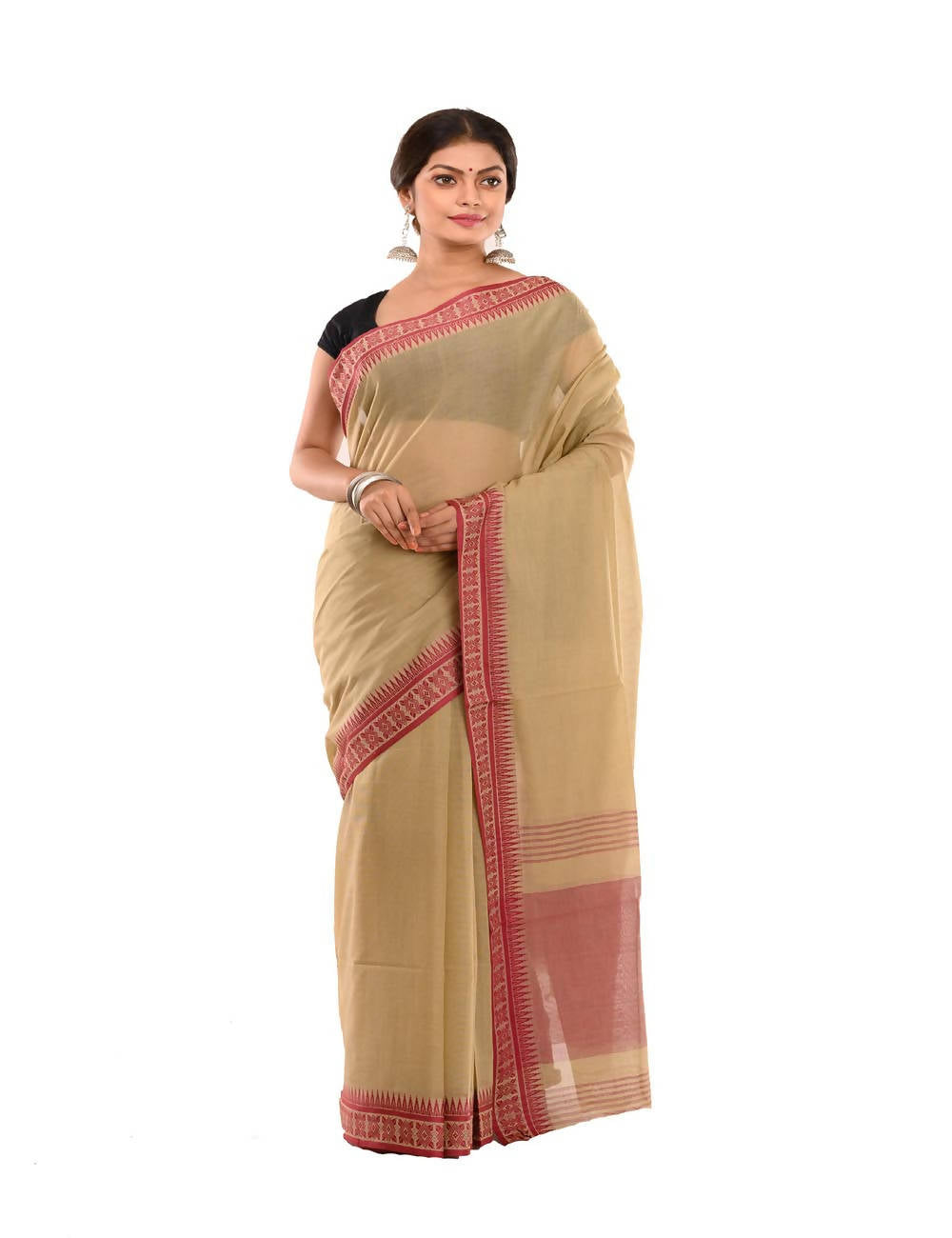 Bengal Brown Handloom Tant Cotton Saree
