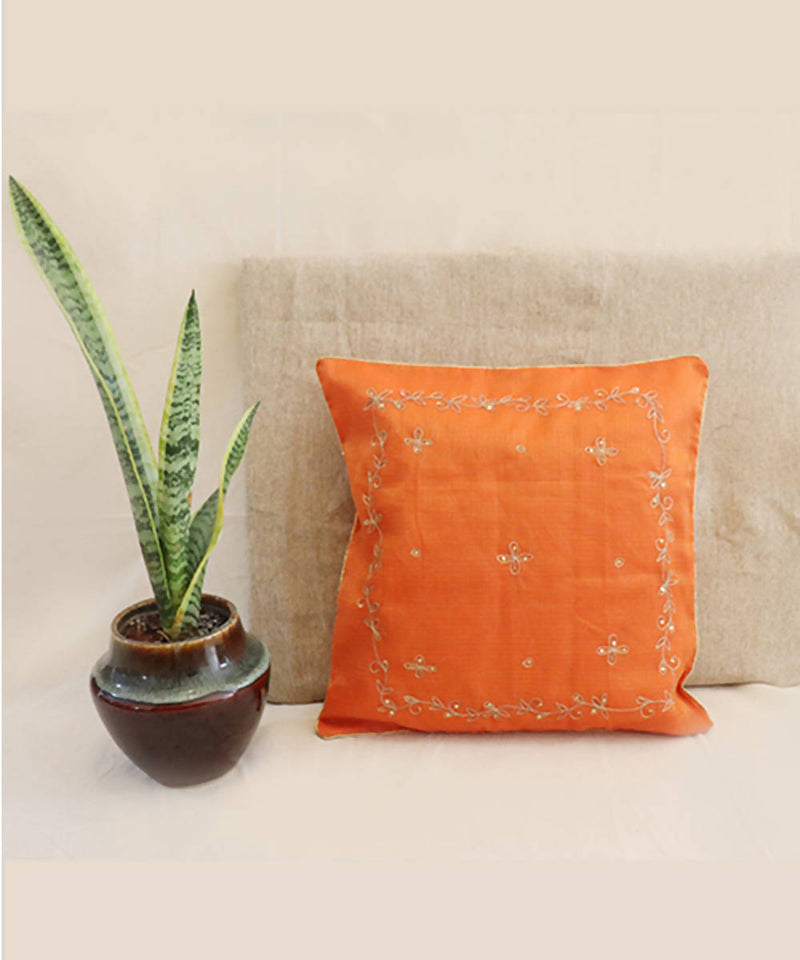Saffron hand embroidered kota festive cushion cover