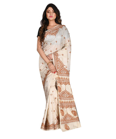 White Bengal Handloom Kantha Stitch Saree