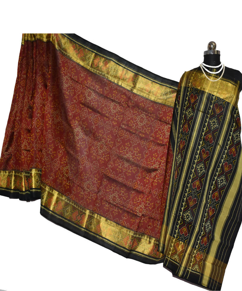 brown maroon Handloom Patola Silk Ikat Saree