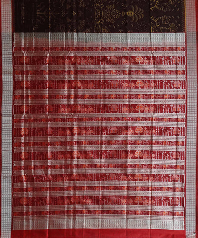 Coffee brown Sambalpuri Ikkat Handwoven silk Saree