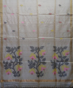 Off White Handloom Tussar Silk Bengal Saree