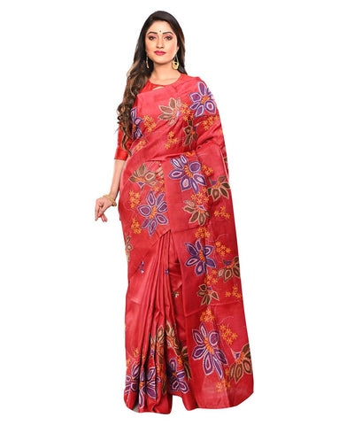 Red Handloom Tussar Kantha Stitch Saree