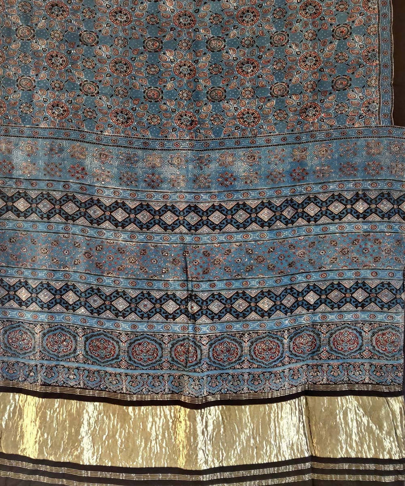 Blue ajrakh hand block printed silk saree
