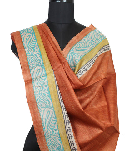 Rust Brown Handloom Tussar Silk Dupatta