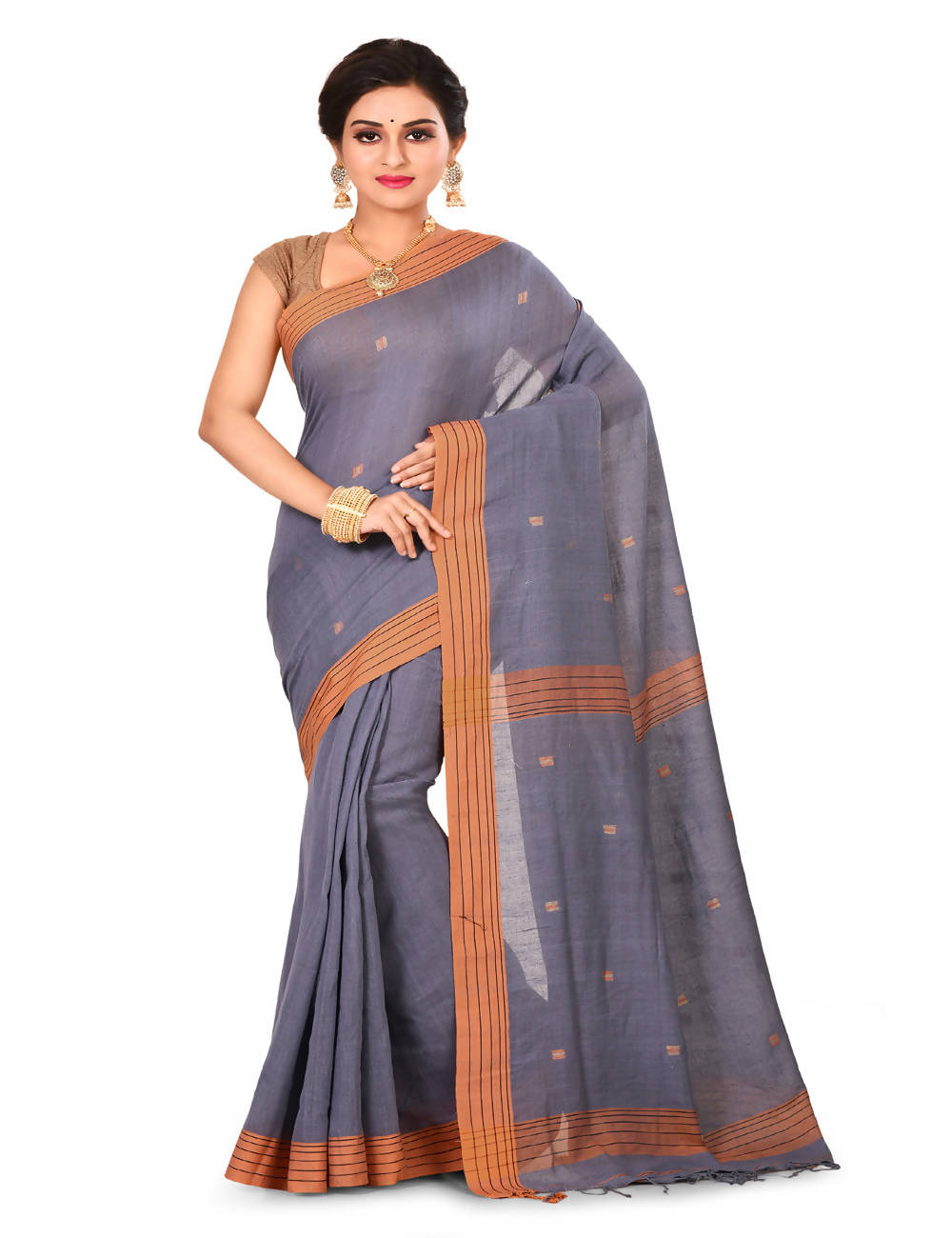 Grey Bengal Jamdani Handspun Handloom matka cotton saree