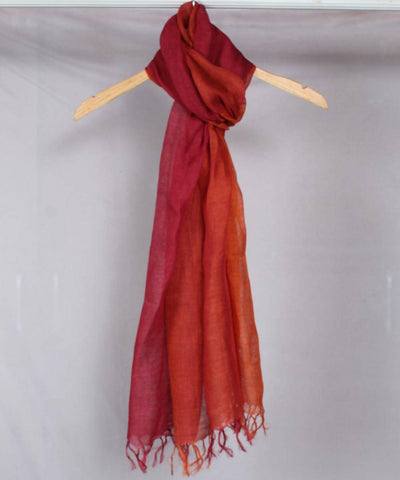 Rust with maroon Handwoven Linen Stole