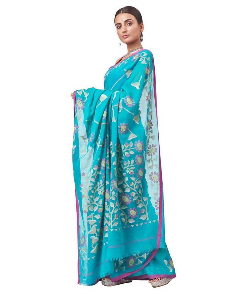 Biswa bangla handloom cotton jamdani teal green Saree