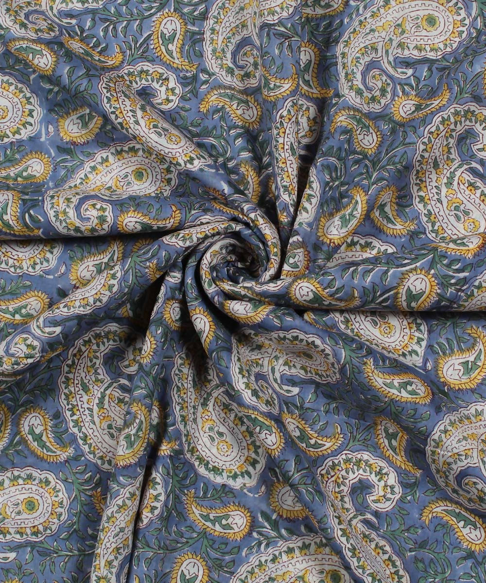 Blue Paisley Handblock Print Cotton Fabric