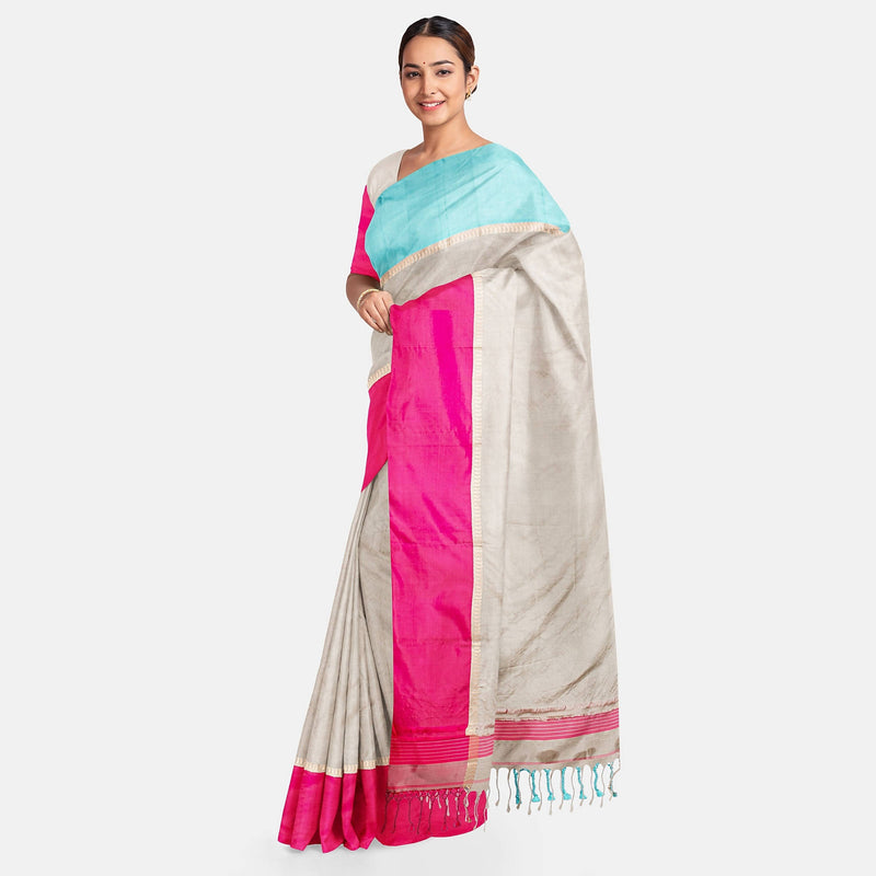 Biswa Bangla Handwoven Silk Saree - Grey, Pink and Blue