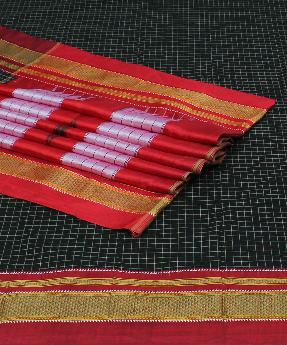 Black Checks Handloom Ilkal Cotton Saree