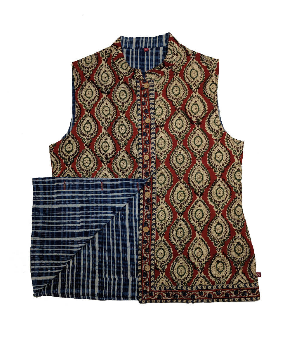 Brown and blue hand block printed cotton reversible jacket