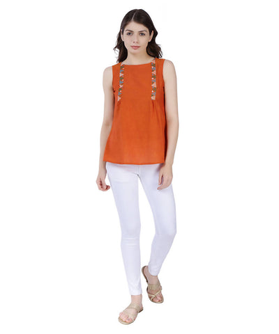 Orange mangalagiri cotton top with multicoloured embroidery