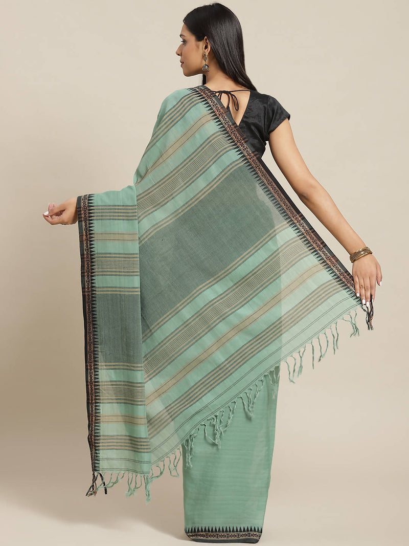 Biswa bangla handwoven green herbal dyed cotton saree