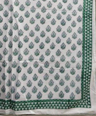 Green and White Floral Handblock Print Cotton Double Dohar