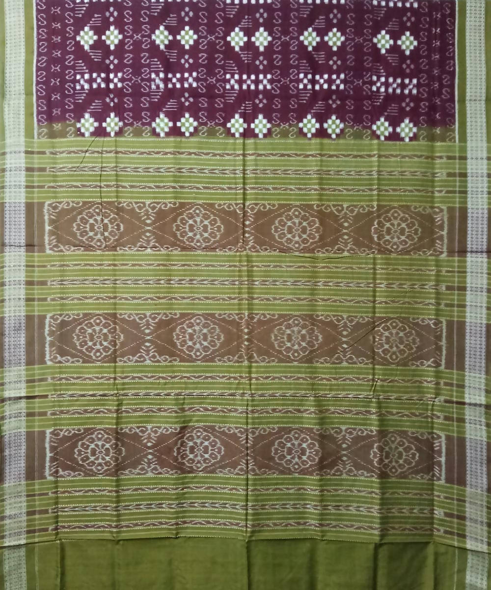 Purple Olive Green Sambalpuri Handloom Cotton Ikat Saree
