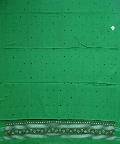 Parrot Green Bomkai cotton Handwoven Dress Material