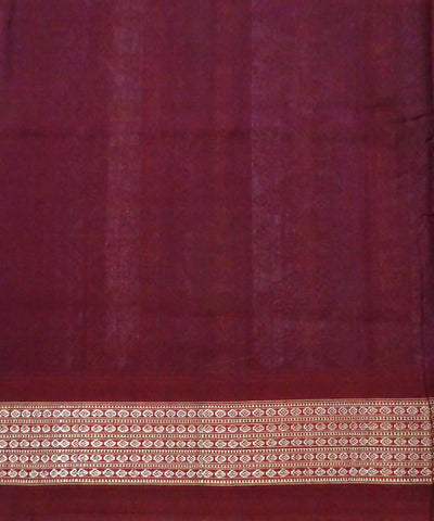 Dark Orange Handloom Bomkai Cotton Saree