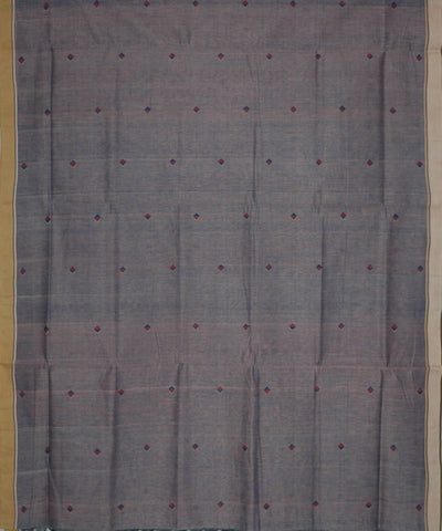 Natural Dyed Grey Blue Handloom Cotton Jamdani Saree