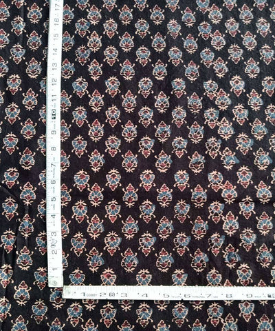 Dark brown natural dye ajrakh print handspun handwoven cotton fabric