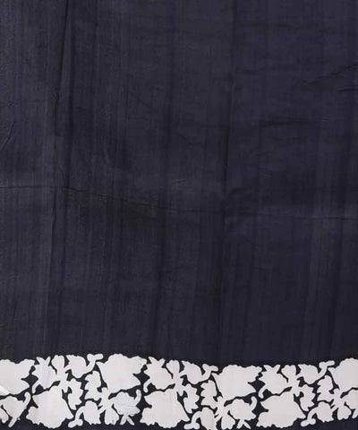 White and black hand block print handwoven mulberry silk saree