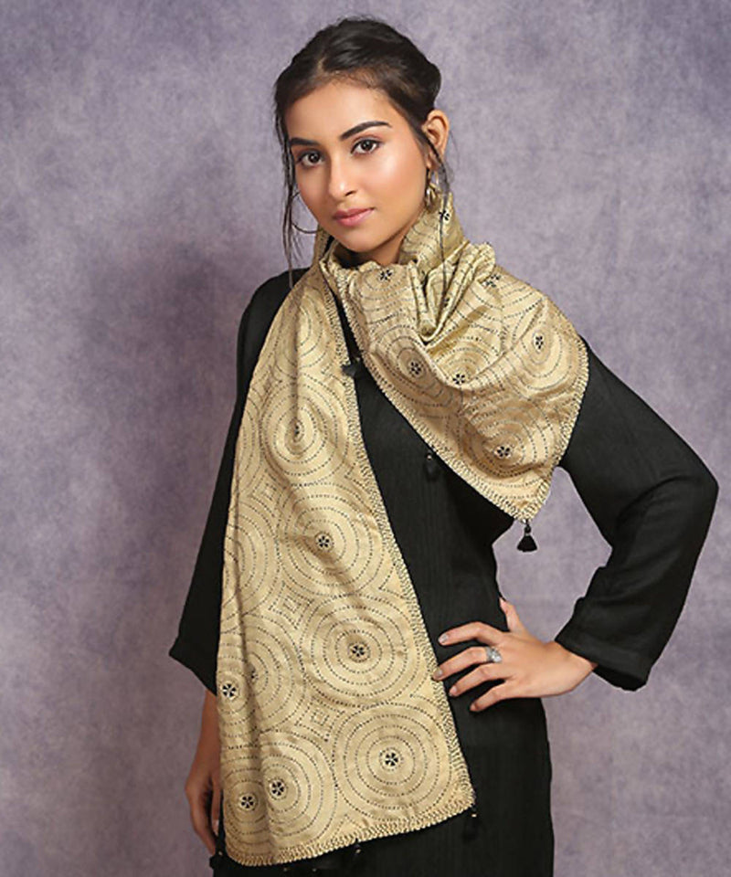 Beige off white hand embroidery reversible silk stole