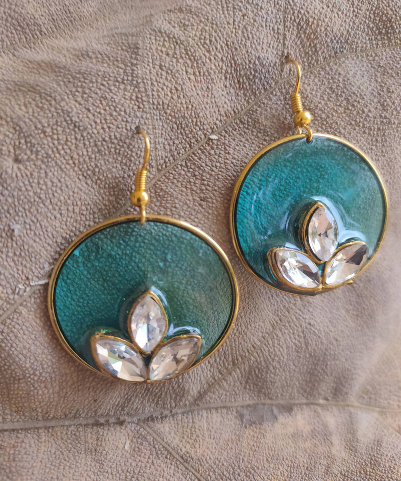 handcrafted cyan round enamel floral earring drops