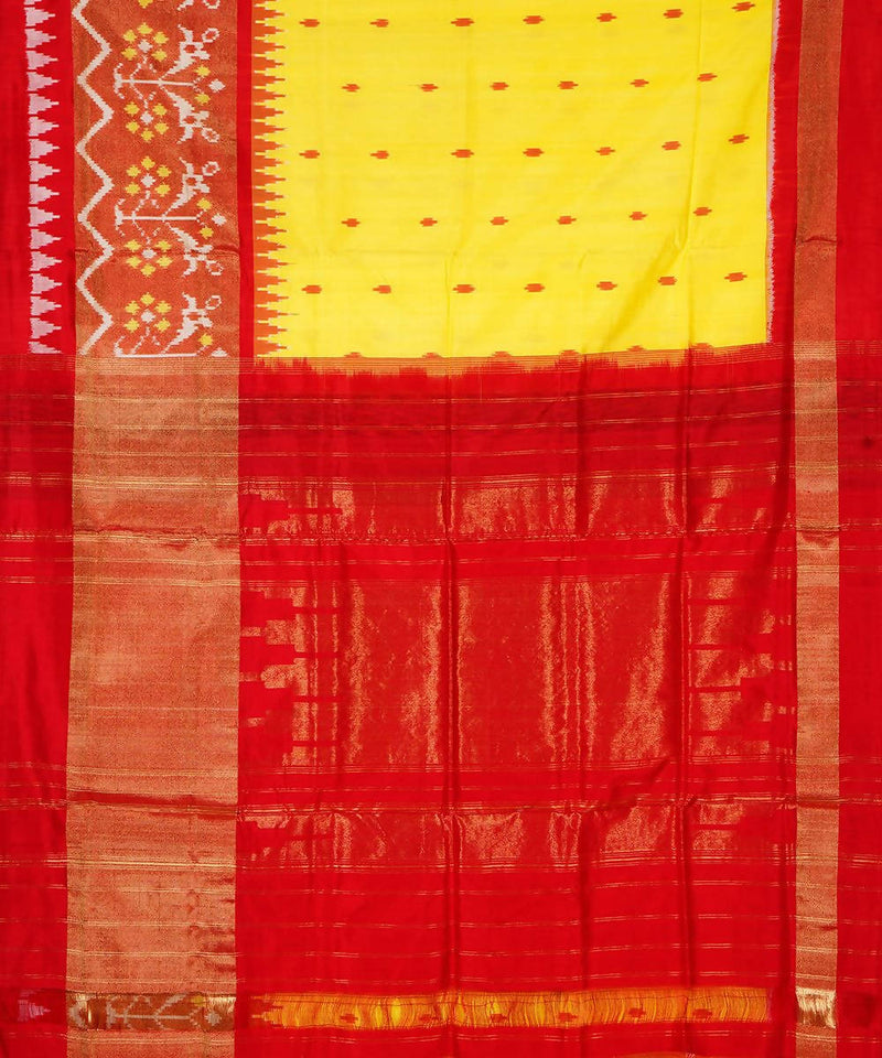 Yellow Red Handloom Ikkat Silk Saree