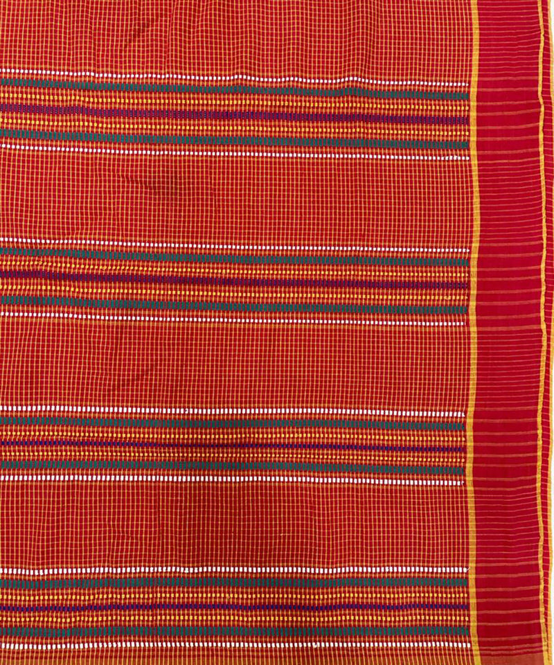 Red yellow handwoven course cotton saree