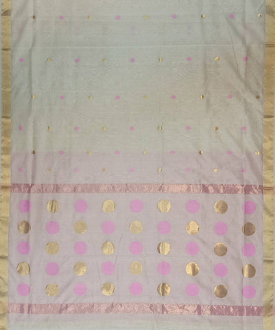 Maheshwari Off White Handwoven Cotton Silk Saree