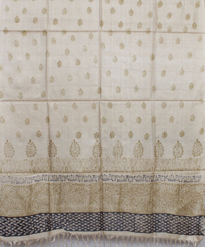 Handloom Beige with Green Tussar Silk Dupatta