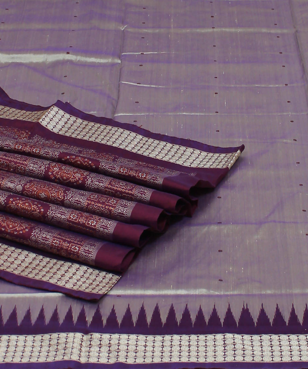 Grey Violet Handloom Bomkai Silk Saree